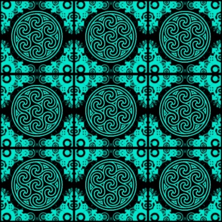 Click to get the codes for this image. Aqua Ornate Circles And Squares On Black, Aqua, Ornate, Circles Background Wallpaper Image or texture free for any profile, webpage, phone, or desktop