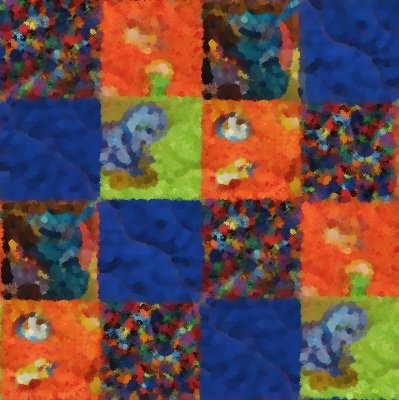 Click to get the codes for this image. Blue And Orange Quilt Painting Seamless, Quilts, Cloth, Artistic Background Wallpaper Image or texture free for any profile, webpage, phone, or desktop