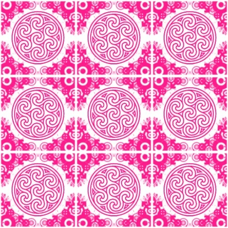 Click to get the codes for this image. Cherry Pink Ornate Circles And Squares On White, Pink, Ornate, Circles Background Wallpaper Image or texture free for any profile, webpage, phone, or desktop