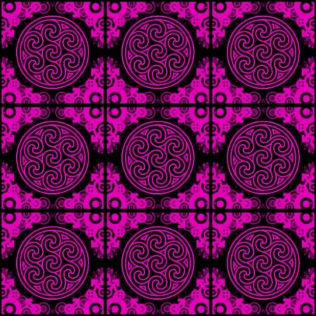 Click to get the codes for this image. Fuchsia Ornate Circles And Squares On Black, Ornate, Pink, Circles Background Wallpaper Image or texture free for any profile, webpage, phone, or desktop