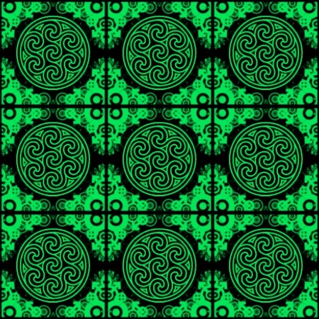 Click to get the codes for this image. Green Ornate Circles And Squares On Black, Green, Ornate, Circles Background Wallpaper Image or texture free for any profile, webpage, phone, or desktop