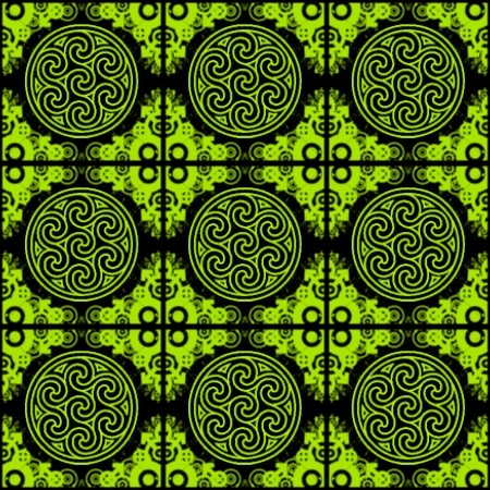 Click to get the codes for this image. Lime Green Ornate Circles And Squares On Black, Green, Ornate, Circles Background Wallpaper Image or texture free for any profile, webpage, phone, or desktop