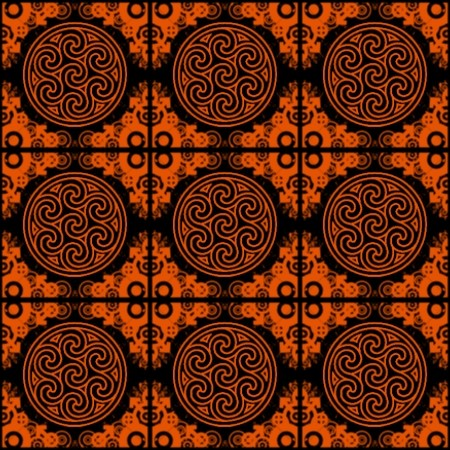 Click to get the codes for this image. Orange Ornate Circles And Squares On Black, Ornate, Orange, Circles Background Wallpaper Image or texture free for any profile, webpage, phone, or desktop