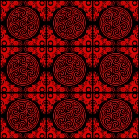 Click to get the codes for this image. Red Ornate Circles And Squares On Black, Red, Ornate, Circles Background Wallpaper Image or texture free for any profile, webpage, phone, or desktop