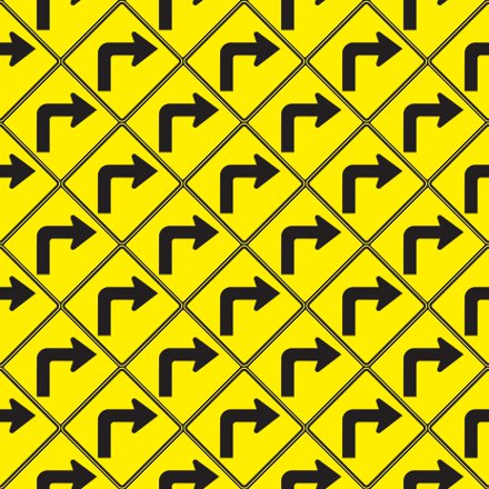 Click to get the codes for this image. Right Turn Arrow Signs Background Seamless, Street Signs, Yellow Background Wallpaper Image or texture free for any profile, webpage, phone, or desktop