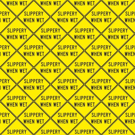 Click to get the codes for this image. Slippery When Wet Signs Background Seamless, Street Signs, Yellow Background Wallpaper Image or texture free for any profile, webpage, phone, or desktop