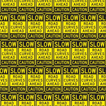 Click to get the codes for this image. Slow Road Curves Ahead Caution Signs Background Seamless, Street Signs, Yellow Background Wallpaper Image or texture free for any profile, webpage, phone, or desktop