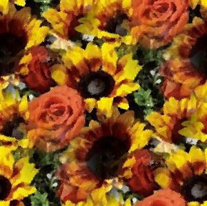 Click to get the codes for this image. Sunflowers And Roses Seamless Painting, Flowers, Artistic Background Wallpaper Image or texture free for any profile, webpage, phone, or desktop