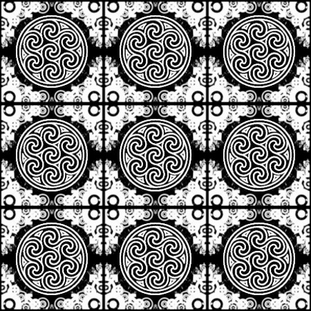 Click to get the codes for this image. White Ornate Circles And Squares On Black, Black and White, Ornate, Circles Background Wallpaper Image or texture free for any profile, webpage, phone, or desktop