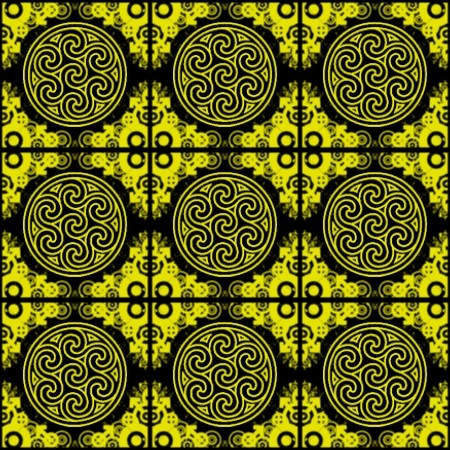 Click to get the codes for this image. Yellow Ornate Circles And Squares On Black, Yellow, Ornate, Circles Background Wallpaper Image or texture free for any profile, webpage, phone, or desktop
