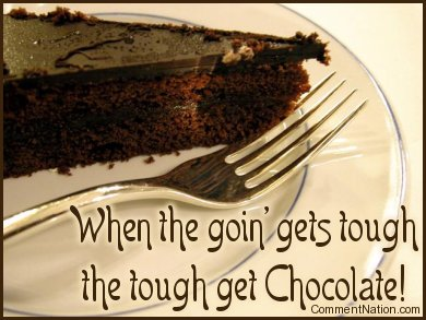 Click to get the codes for this image. This cute comment is perfect for chocolate lovers! It shows a photograph of a delicious looking chocolate cake with the comment: When the goin' gets tough, the tough get Chocolate!