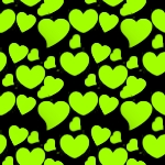 Lime Green Hearts On Black Background Or Wallpaper Image ...