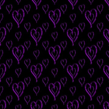 Metallic Purple Hearts Wallpaper On Black Background